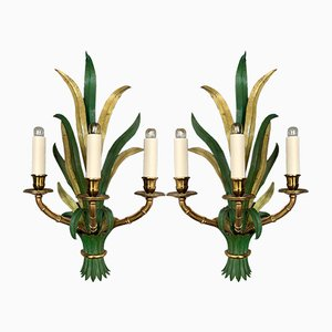 French Faux Bamboo Palm Sconces Bronze by Maison Bagues, 1960s, Set of 2