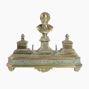 Antikes Napoleon III Tintenfass aus Bronze