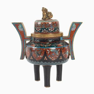 19th-Century Japanese Cloisonné Enameled Copper Perfume Burner with Dog Figurine