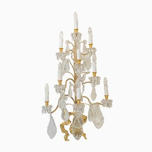 Vintage Gilt Bronze and Crystal Wall Chandeliers, Set of 2