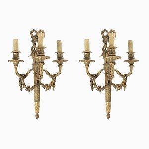 Antique French Louis XVI Style Bronze Sconces from E. Mottheau, Set of 2