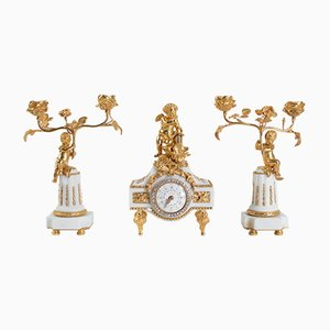 Napoleon III Bronze Gilt Bronze, Marble, and Rhinestone Clock Set