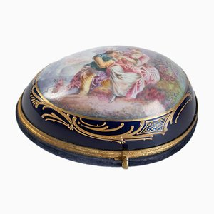 Napoleon III Half Egg Shaped Sèvres Porcelain Box