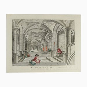 Handbemalte antike französische Lithografie