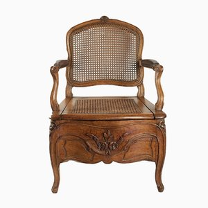 Antique Louis XV Beech and Leather Armchair