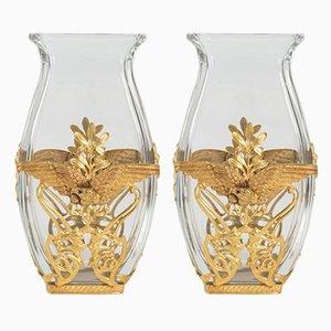 Antike vergoldete Jugendstil Vasen aus Messing & Kristallglas, 2er Set