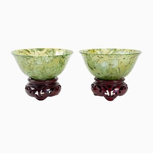 Antique Chinese Wood & Colored Glass Cups, Set of 2