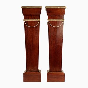 Antique Napoleon III Gilded Mahogany Columns, Set of 2