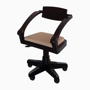 Italienischer moderner Spring Bürostuhl aus Buchenholz und beigem Leder mit Rollen von Castello by Massimo Scolari für Giorgetti, 2000er