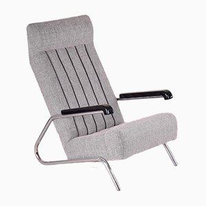 Art Déco Stuhl aus Chromrohr und Stoff, 1930er