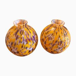 Farbige französische Mid-Century Vasen aus Glas, 1950er, 2er Set