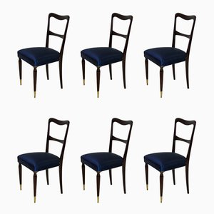 Italian Beech and Silk Dining Chairs, 1950s, Set of 6
