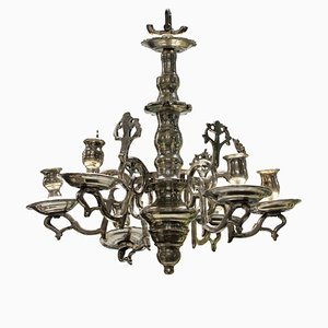 Small Antique Flemish Silver Candelabrum Chandelier, 1800s