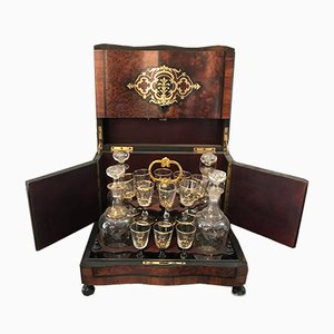 Napoleon III French Liquor Set with Walnut Case