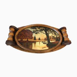 Bemaltes Art Déco Tablett aus Glas