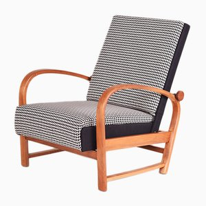 Art Deco Fabric and Walnut Armchair from Thonet, 1930s