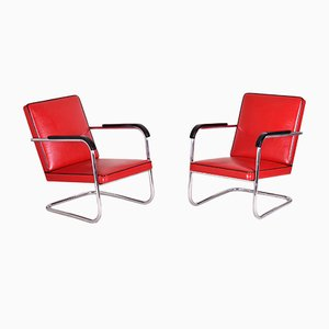 Art Deco German Red Tubular Armchairs by Anton Lorenz for Thonet, 1930s, Set of 2