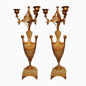 Antike französische Kerzenhalter aus Bronze, 2er Set