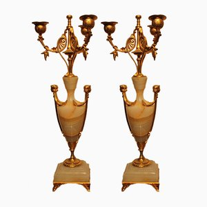 Antique French Bronze Candleholders, Set of 2