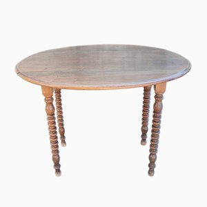 Oval Antique Walnut Drop-Leaf Bistro Side Table