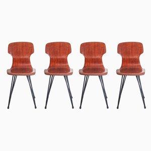 Mid-Century Esszimmerstühle aus Teak, 1950er, 4er Set