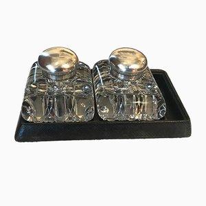 Tintenfässer aus Kristallglas und Silber mit Ledersockel