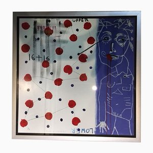 Minimalist Acrylic and Paper Poster by Paul Kostabi for Gallerie Edition F, 1980s