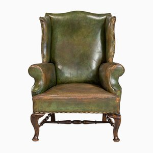 19th-Century English Leather Wing Armchair