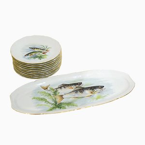 French Porcelain Tableware Set from Larchevêque, 1960s, Set of 11