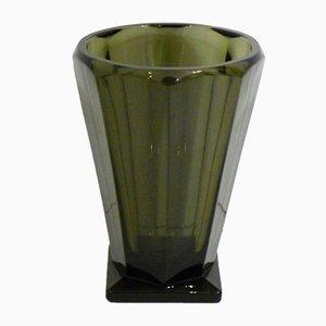 Vase Art Déco en Verre Fumé, 1920s