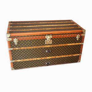 Art Deco French Monogrammed Poplar, Canvas, and Brass Trunk by Louis Vuitton, 1930s