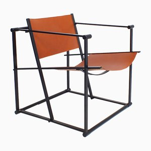 Postmoderner FM61 Stuhl aus Metall & Kuhleder von Radboud Van Beekum für Pastoe, 1980er