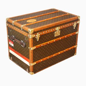 Art Deco French Poplar, Canvas, and Brass Hat Trunk by Louis Vuitton, 1930s