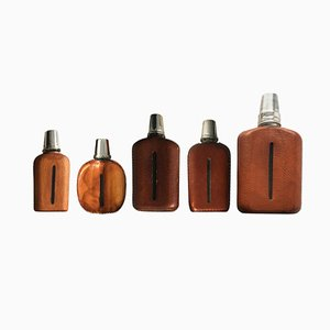 Leather Flasks by Carl Auböck, 1950s, Set of 5