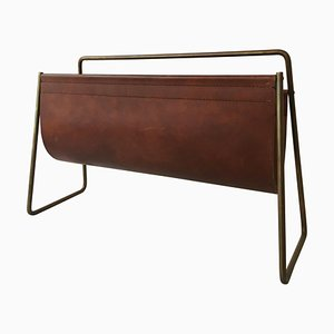 Large Leather Magazine Rack by Carl Auböck, 1950s