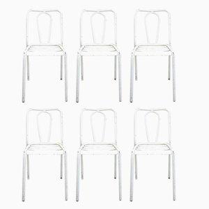 Weiße Stühle aus Metall von Tolix, 1950er, 6er Set