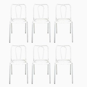 White Metal Chairs from Tolix, 1950s, Set of 6