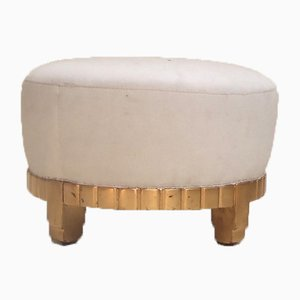 Art Deco French Gilt, Beech & Fabric Ottoman by Maurice Dufréne, 1920s