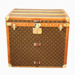 Art Deco French Poplar, Canvas, and Brass Trunk by Louis Vuitton, 1930s