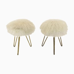French Sheep Fur Stools, 1950s, Set of 2