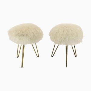Taburetes franceses de piel de oveja, años 50. Juego de 2