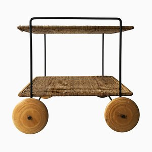 Iron & Rattan Trolley by Carl Auböck, 1950s