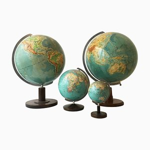Vintage German Globes Collection by Paul Oestergaard for Columbus Verlag, 1930s. Set of 4