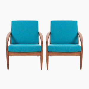 Paper Knife Lounge Chairs by Kai Kristiansen for Magnus Olesen, 1950s, Set of 2