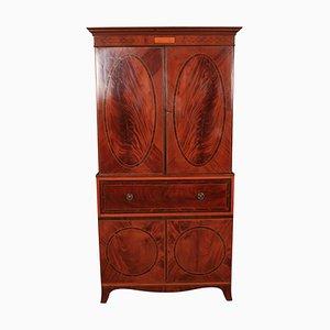 Secretaire antico in legno di mogano intarsiato, inizio XIX secolo