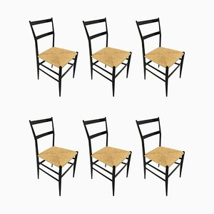 Vintage Superleggera Dining Chairs by Gio Ponti for Cassina, 1958, Set of 6