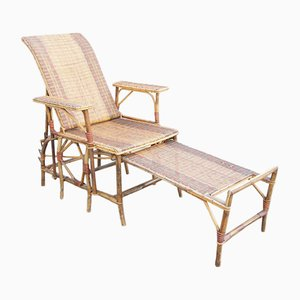 Wicker Reclining Chaise Longue with Detachable Footstool, 1920s