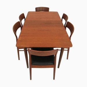 Tavolo da pranzo allungabile con sedie di Gustav Bahus & Kai Kristiansen, anni '60