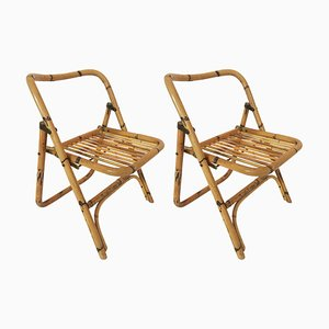 Folding Bamboo Side Chairs from Dal Vera, 1970s, Set of 2