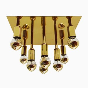 German Brass and Metal Ceiling Lamp from Sölken Leuchten, 1960s